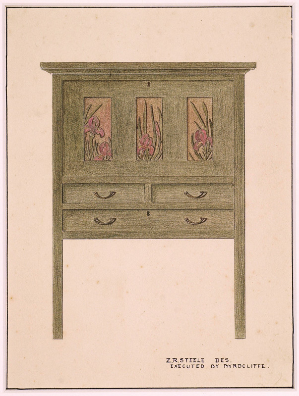 This drawing depicts a green-stained drop-front desk with iris panels also owned by Byrdcliffe, one of the best surviving examples of Byrdcliffe furniture (WBG  2007.001.001)