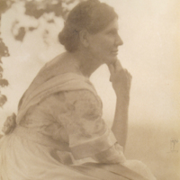 Portrait of  Woman with Hand on Chin Seated Under Tree
